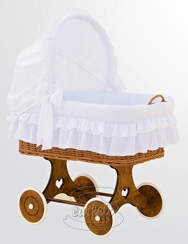 Proutěný koš na miminko s boudičkou Martin bílý Scarlett