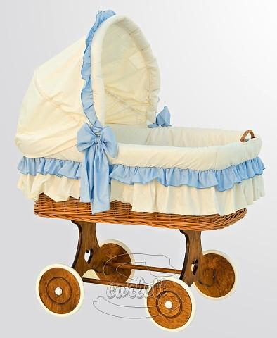 Proutěný koš na miminko s boudičkou Martin modrý Scarlett