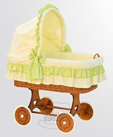 Proutěný koš na miminko s boudičkou Martin zelený Scarlett