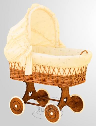 Proutěný koš na miminko s boudičkou Méďa béžový Scarlett