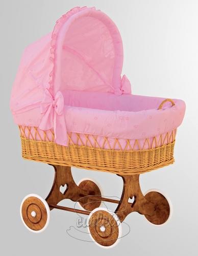 Proutěný koš na miminkos boudičkou Méďa růžový Scarlett