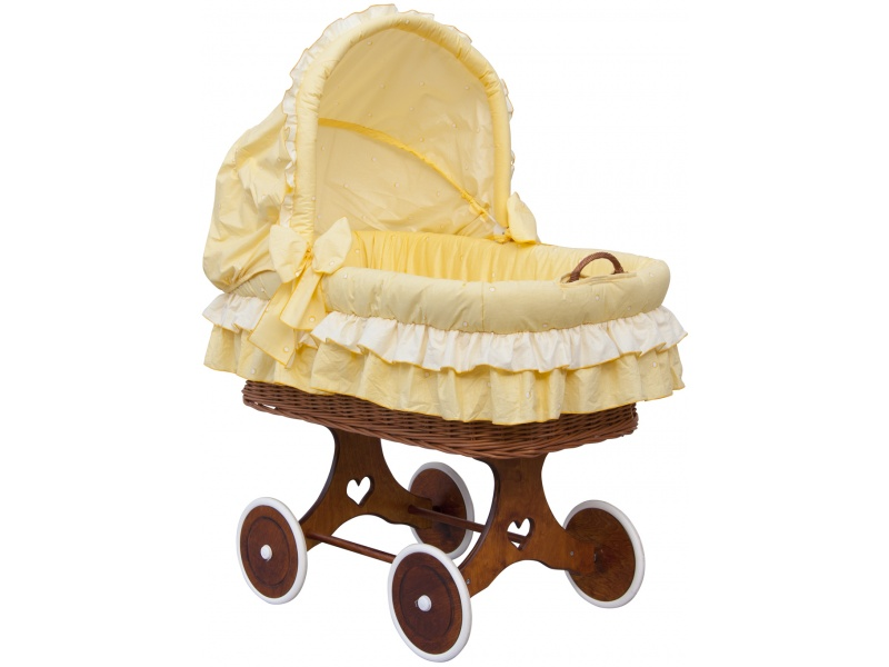 Proutěný koš na miminko s boudičkou Dráček žlutá Scarlett