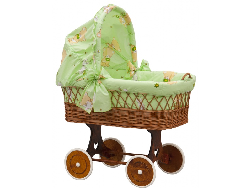 Proutěný koš na miminko s boudičkou Tereza zelená Scarlett